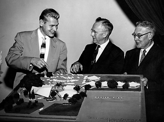 John Harvey Carter, Ted Abell and Carl Anderson with Master Plan for new church building, 1958