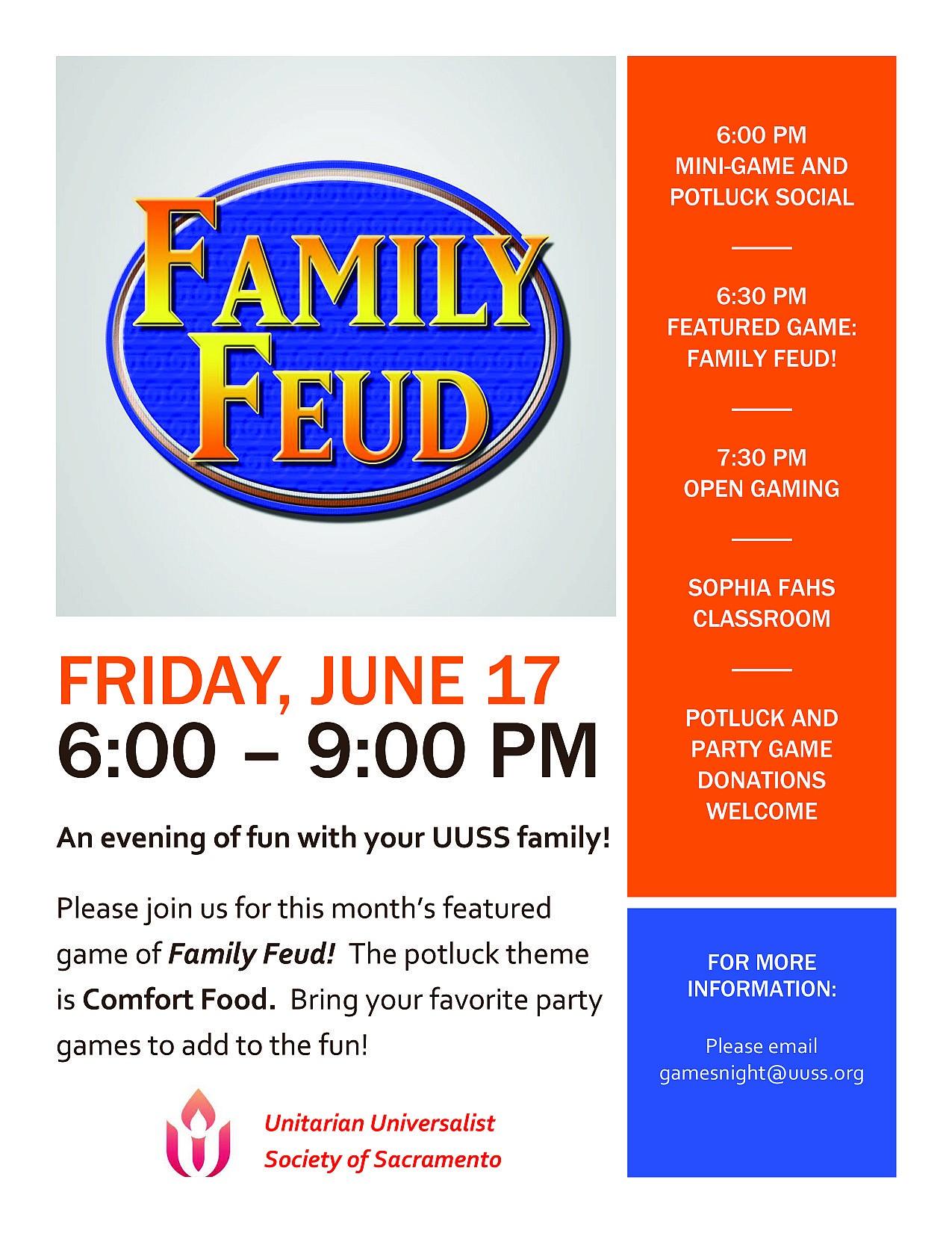 Join us for Family Feud! (Fri  17th) @ 6 PM – UUSS – A Sacramento Church