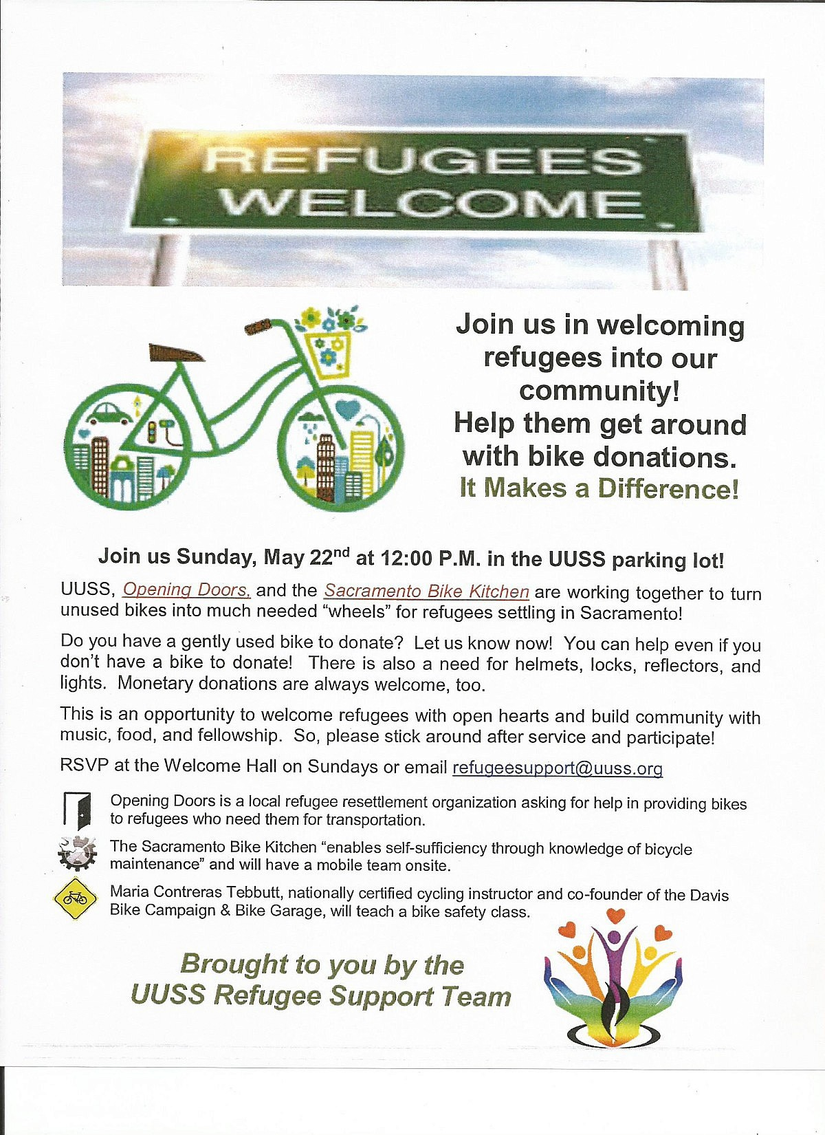 Bike Drive for Refugees – Sunday, May 22 @ 12:00 p.m. – UUSS – A ...