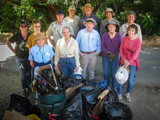 June 11, 2016 UUSS Parkway Cleanup Crew: From left, rear: Karen Hirsch, Toby Olson, John Abbott, Larry Thomas Larry Shaw, Don Thornberry, Cassandra Sove. Front row from left: Betty Crockford, Nancy Gilbert, Lloyd Crockford, Margaret Licha, Barbara Gardner.