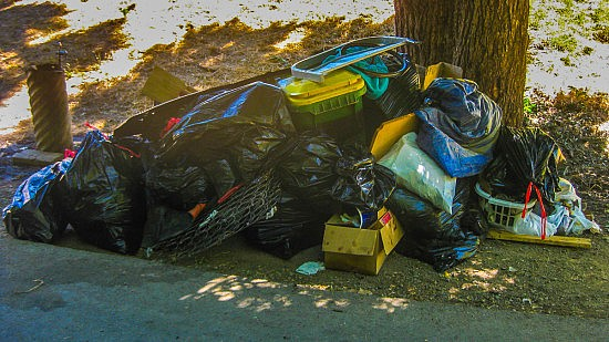 Here's just one of the piles of trash that our crew cleaned from the UU mile.