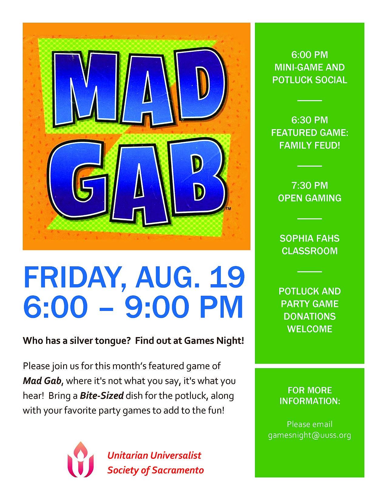 Games Night Fri  8/19 @ 6 PM – UUSS – A Sacramento Church
