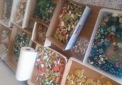 Mosaic materials donated by members of our congregation.