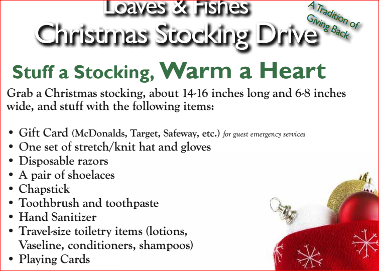 Help uuss fill 100 christmas stockings for the homeless for Loaves and fishes sacramento