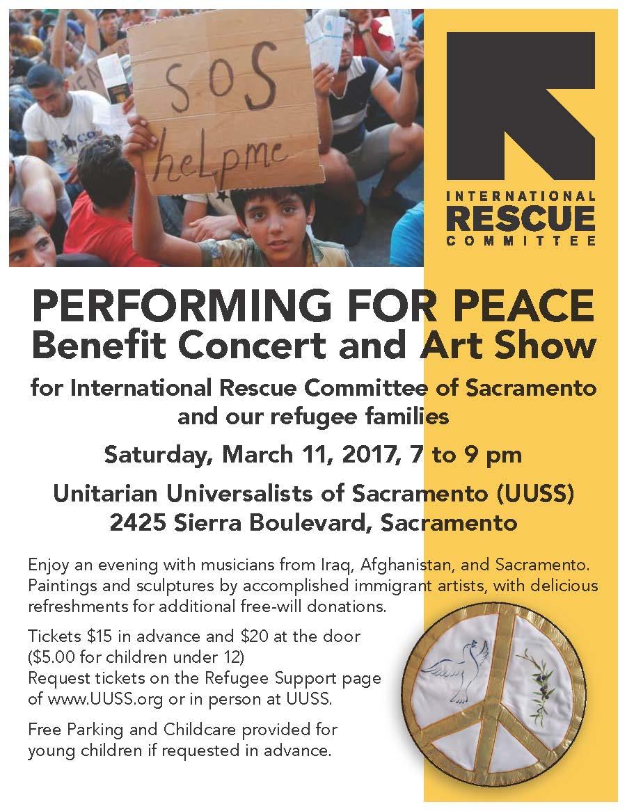 Refugee benefit concert art show saturday mar 11 for Craft fairs sacramento 2017