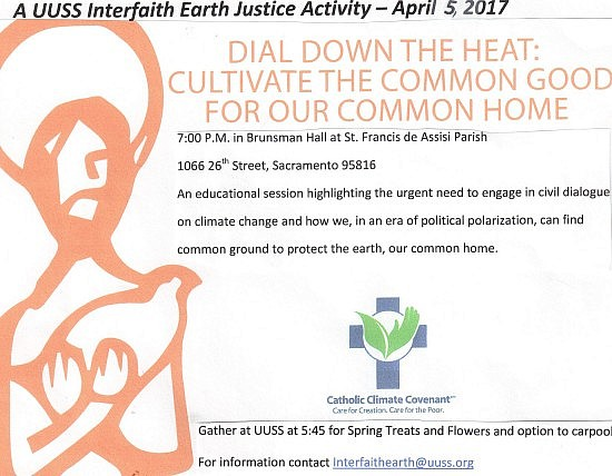 UUSS Interfaith Earth photo Dial Down the Heat