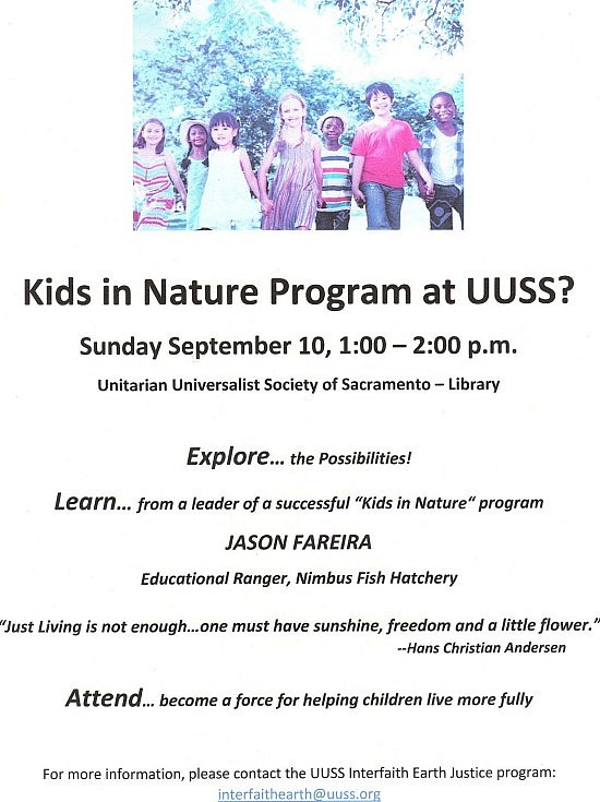 Kids to nature event September 2017 flyer JPEG