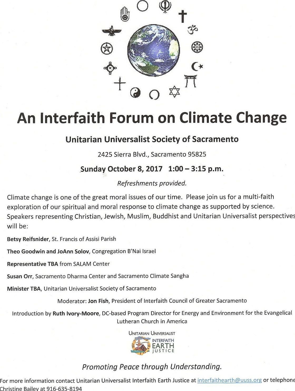 October 8 Interfaith Climate Forum event flyer JPEG