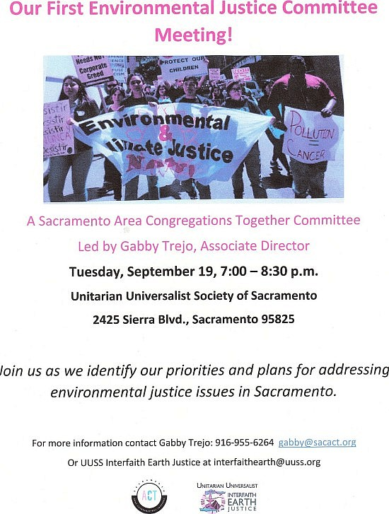 Sacramento ACT First Environmental Justice Committee mtg. event flyer JPEG